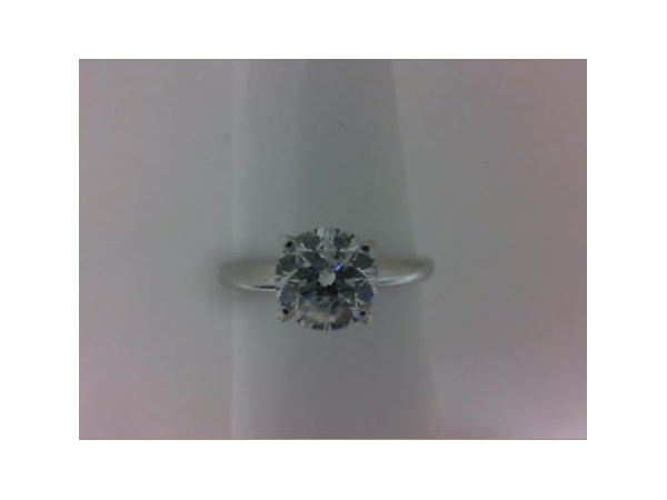 Engagement Ring - Lady's White 14 Karat Solitaire Engagement Ring Size 6 With One 1.00Ct Round E I1 Diamond Gold GM Wt: 2.2