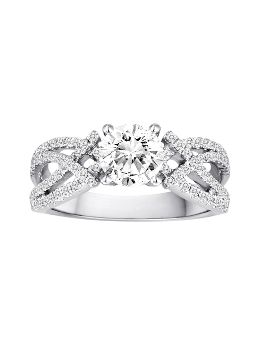 Engagement Ring - DIADORI DFWR4918 18K White Gold Contemporary Engagement Ring with .40ctw of diamonds  (does not include the center stone, made to hold a 1ct round center stone but can be modified for any shape or size center)