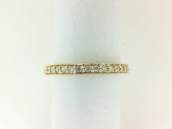 Anniversary Ring - Lady's 10kt Yellow Gold Stackable Half Anniversary Band / Fashion Ring, Size 7 With 17=0.12Tw Round Diamonds