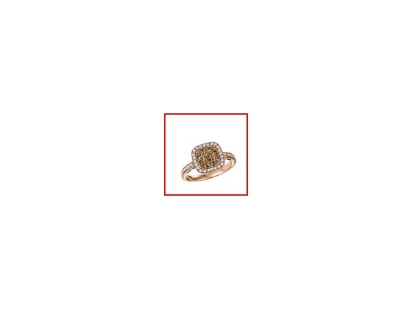Fashion Ring - Lady's Rose 14 Karat Diamond Fashion Ring With 36=0.19Tw Round Diamonds And 13=0.42Tw Round Chocolates Diamonds Size 6