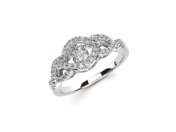 Fashion Ring - Lady's White 14 Karat Shimmering Fashion Ring With One= 0.25Ct Round G/H I1 Diamond And 50=0.25Tw Round G/H I1 Diamonds Size 6.5