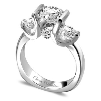 CLAUDE THIBAUDEAU Ring - CLAUDE THIBAUDEAU 18Kt White Gold w/Palladium Contemporary Semi-mount Ring With 2=0.44Tw Round Diamonds And 2=0.14Tw Round Diamonds (Center Stone Not Included)