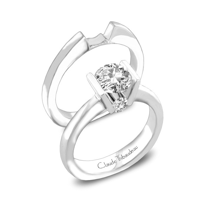 CLAUDE THIBAUDEAU Ring - CLAUDE THIBAUDEAU White 18 Karat Solitaire Ring Size 7 With 2=0.14Tw Round Diamonds (Center Stone Not Included)