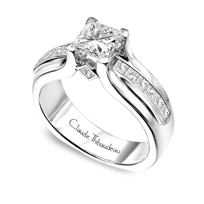 CLAUDE THIBAUDEAU Ring - CLAUDE THIBAUDEAU White 18 Karat Contemporary Ring Size 6.75 With 12=0.48Tw Princess G/H Vs1 Diamonds And 2=0.10Tw Princess G/H Vs1 Diamonds Gold GM Wt: 11.1 (Center Stone Not Included)