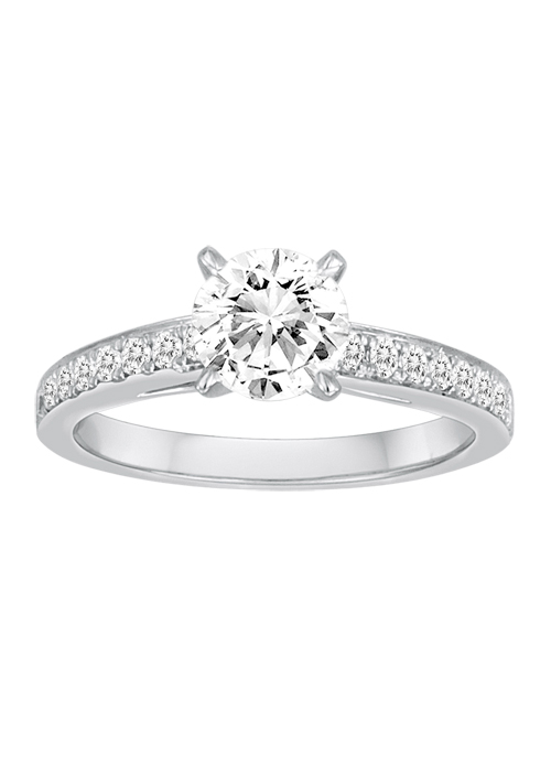 Ring - DIADORI DFWR0600, White 18 Karat Cathedral Ring Size 6.5 With One 1.00Ct Round Cubic Zirconia And 16=0.25Tw Round Diamonds