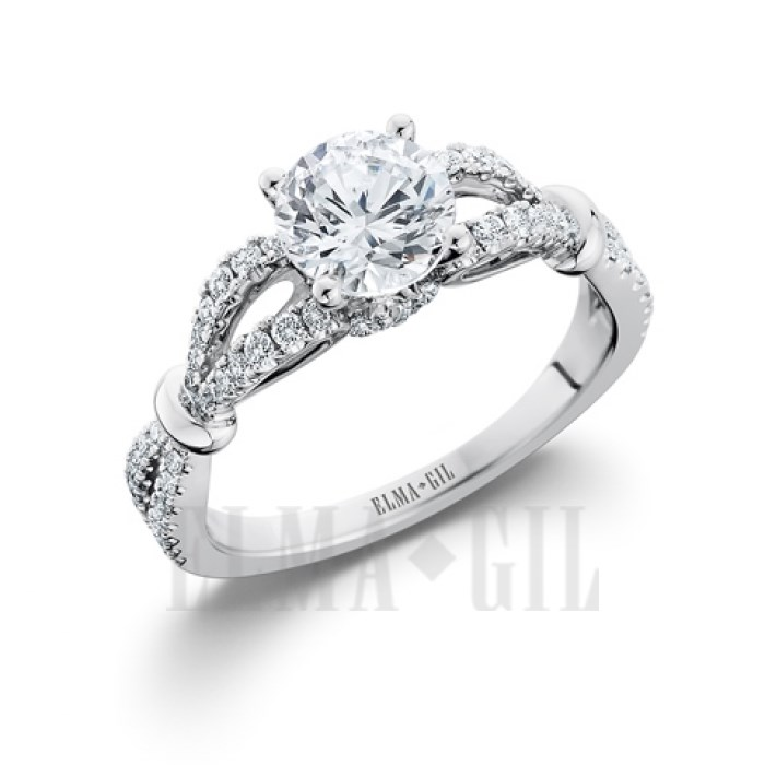 Ring - Lady's 18 Karat White  Vintage Engagement  Ring Size 6.5 With One 6.50Mm Round Cubic Zirconia in Center And 66=0.38Tw Round Diamonds