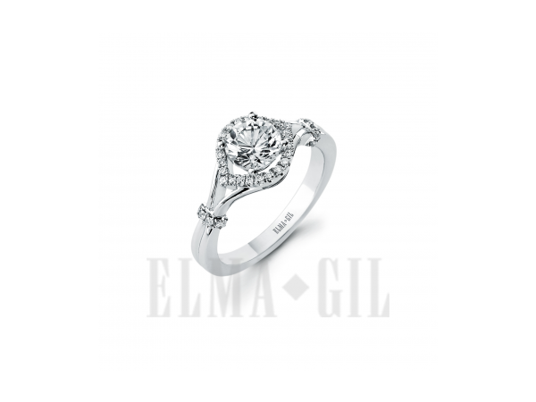 Ring - White 18 Karat Diamond Semi-Mount Ring With 36=0.18Tw Round Diamonds And One Round Cubic Zirconia In Center. Size 6.5