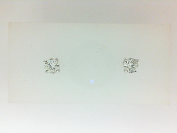 Earrings - Lady's White 14 Karat Stud Earrings With 2=0.63Tw Round H/I I1 Diamonds
