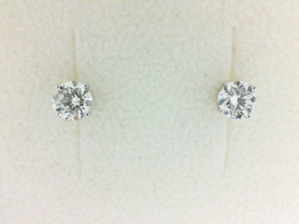 Earrings - Lady's White 14 Karat Stud Earrings With 2=0.73Tw Round H/I I1 Diamonds