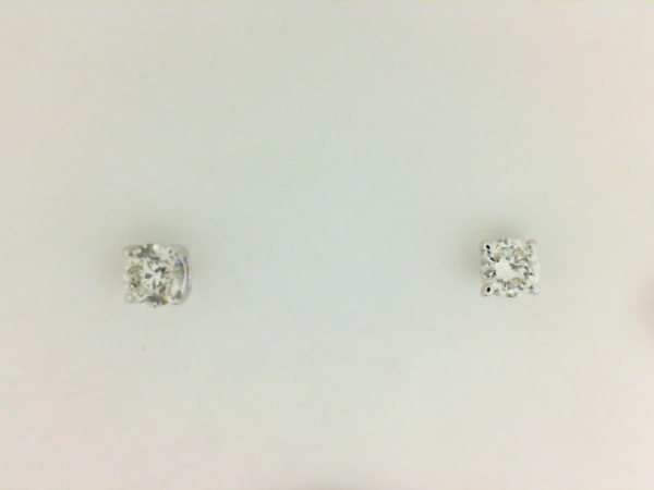Earrings - Lady's White 14 Karat Stud Earrings With 2=0.48Tw Round H/I I1 Diamonds