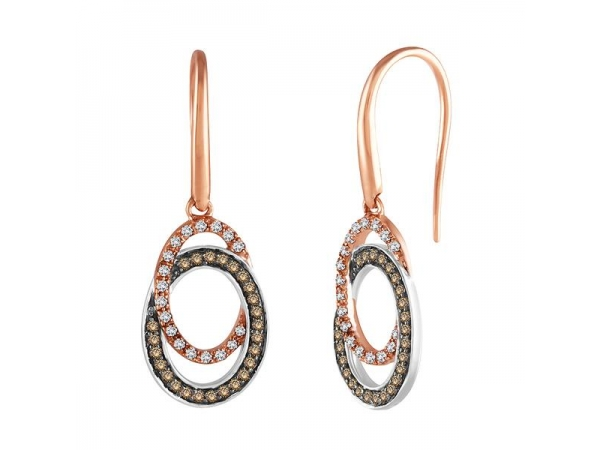 Earrings - Lady's Two Tone 14 Karat Dangle Earrings With 50=0.29Tw Round Chocolate Diamonds And 36=0.21Tw Round Diamonds