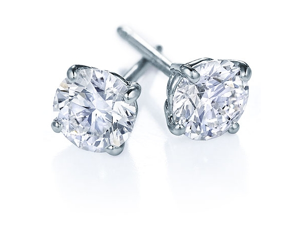 Earrings - Lady's White 14 Karat Stud Earrings With 2=1.60Tw Round H/I Si2 Diamonds