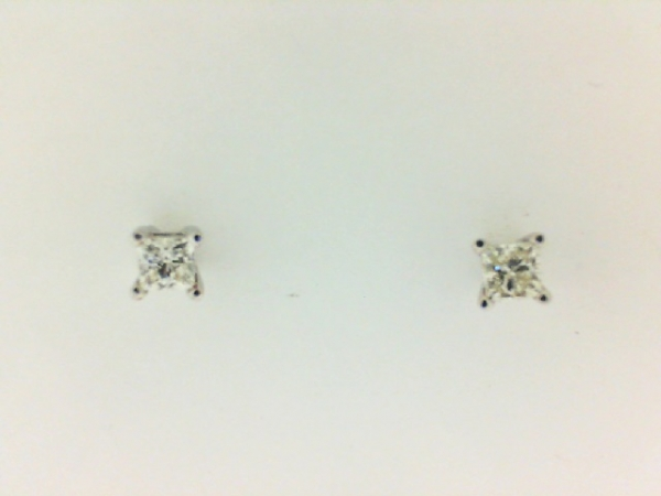 Earrings - Lady's White 14 Karat Stud Earrings With 2=0.30Tw Princess H/I Si1 Diamonds