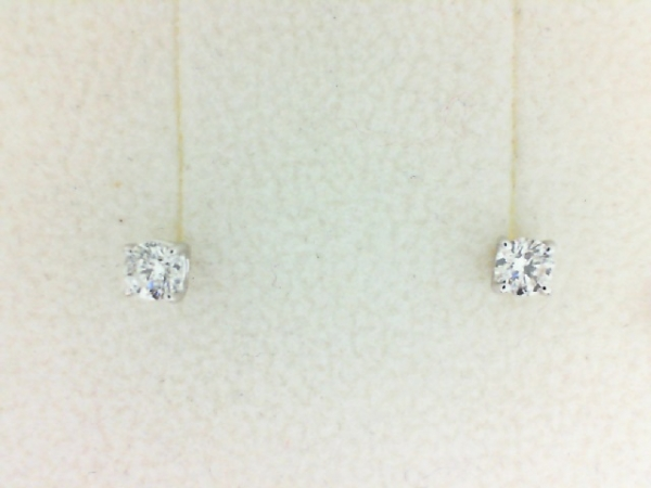 Earrings - Lady's White 14 Karat Stud Earrings With 2=0.30Tw Round H/I SI2-I1 Diamonds