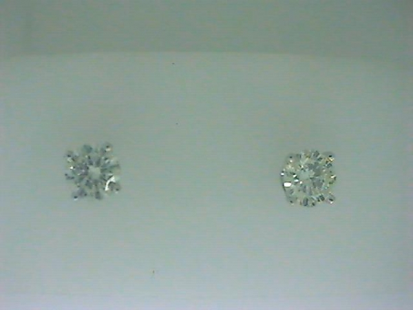 Earrings - Lady's White 14 Karat Stud Earrings With 2=1.00Tw Round H/I I1 Diamonds