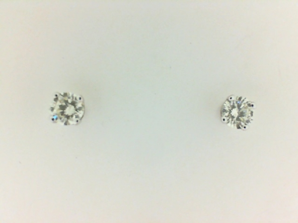 Earrings - Lady's White 14 Karat Stud Earrings With 2=0.39Tw Round H Si2 Diamonds
