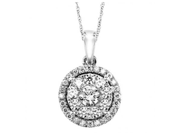 Pendant - White 14 Karat Cluster Diamond Pendant With 34=0.50Tw Round Diamonds , 18 Inch Chain