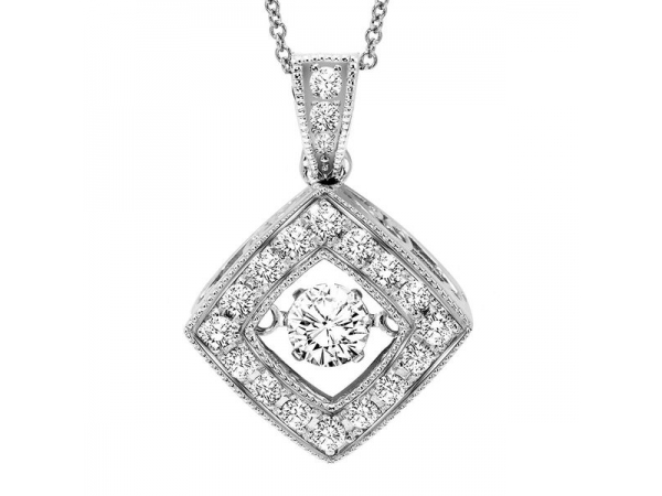 Pendant - White 14 Karat Rhythm Of Love Diamond Pendant With One =0.20Ct Round Diamond And 23=0.15Tw Round Diamonds , 18 Inch Chain