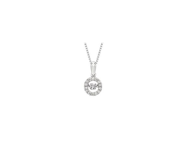 Pendant - White 14 Karat Rythym Of Love Dangle Diamond Pendant With One= 0.48Ct Round  Center Diamond And 17=0.25Tw Round Diamonds, 18 Inch Chain