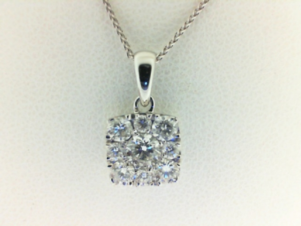 Pendant - White 14 Karat Cluster Pendant With 9=0.50Tw Round G/H Si1-Si2 Diamonds With 18 Inch Chain