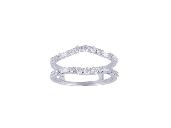 Diamond Ring Guard - Lady's Diamond Ring Guard With 22= Round G/H Si1-Si2 Diamonds And 4= Baguette G/H Si1-Si2 Diamonds for a combined total weight of .50 cts