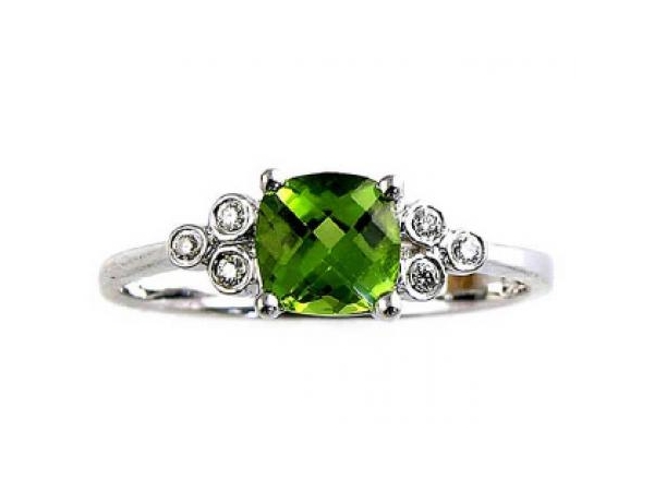 Fashion Ring - YCH Lady's White 14 Karat Contemporary Fashion Ring Size 7 With One 0.86Ct Cushion Peridot And 6=0.04Tw Round Diamonds