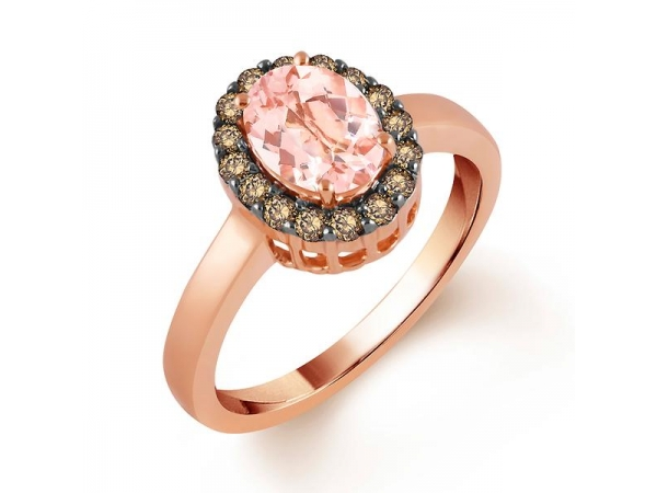 Fashion Ring - Lady's Rose 14 Karat Princess Di Fashion Ring Size 7 With One 1.39Ct Oval Morganite And 16=0.30Tw Round Chocolate Diamonds