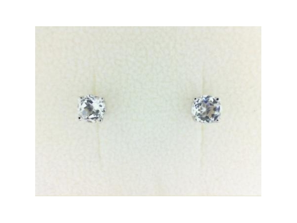 Earrings - Lady's White 14 Karat Stud Earrings With 2=5.00Mm Round White Topaz