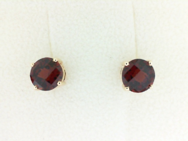 Earrings - YCH Lady's Yellow 14 Karat Stud Earrings With 2=3.57Tw Round Checkerboard Cut Garnets