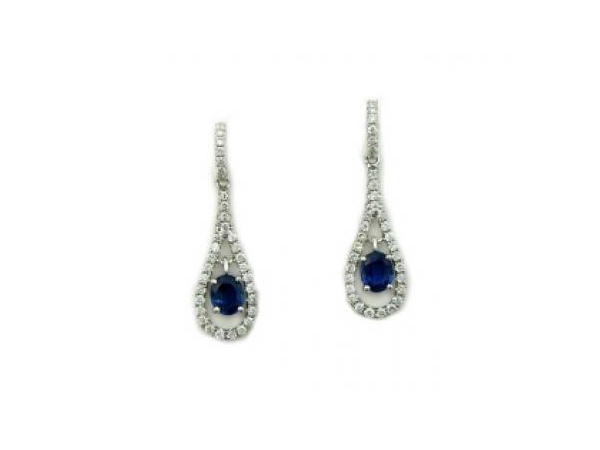 Earrings - YCH Lady's White 14 Karat Dangle Earrings With 2=0.72Tw Oval Sapphires And 66=0.44Tw Round Diamonds