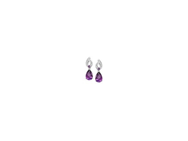 Earrings - Lady's White 14 Karat Dangle Earrings With  2 Pear Shape Amethysts, 2 Round Amethyst With A Combined Weight Of 2.09Cts and 20=.12 Round Diamonds.
