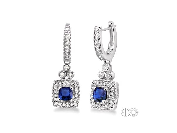 Earrings - Lady's White 14 Karat Drop Earrings With 2=4X4Mm Square Cushion Sapphires And 66=0.33Tw Round H/I Si3 Diamonds
