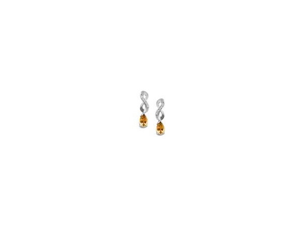 Earrings - Lady's White 14 Karat Dangle Earrings With 2=0.78Tw Pear Shape  Citrines And 12=0.72Tw Round Diamonds