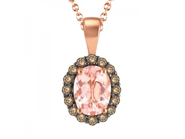 Pendants - Lady's Rose 14 Karat Drop Pendant With One 1.01Ct Oval Morganite And 16=0.30Tw Round Chocolate Diamonds