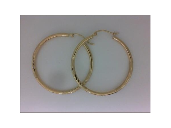 Earrings - Lady's Yellow 14 Karat Gold Diamond Cut Large Hoop Earrings