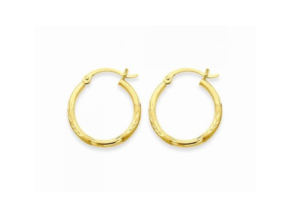Earrings - Lady's Yellow 14 Karat Diamond Cut Small Hoop Earrings