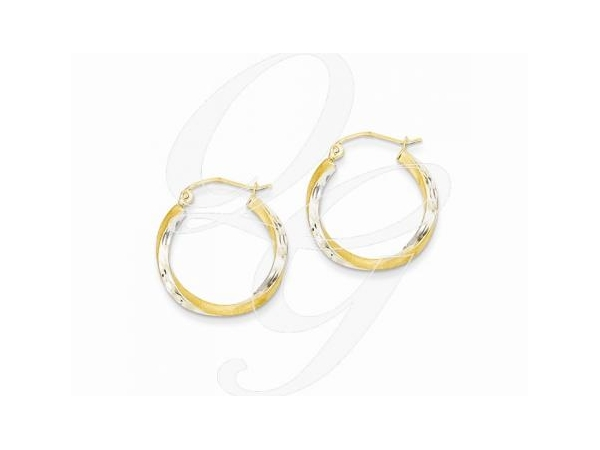 Earrings - Lady's 14 Karat Yellow Gold/Rhodium Satin Finish Diamond Cut 2.5mm  Twisted Small Hoop Earrings