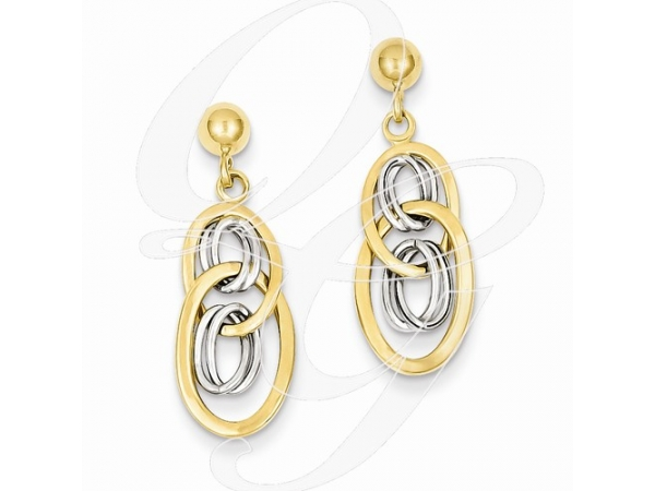 Earrings - Lady's 14 Karat Two-Tone  Multi Oval Shapes  Dangle Earrings With Post