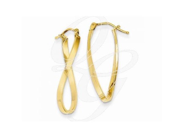 Earrings - Lady's14 Karat Yellow Gold Twisted Hoop Earrings With Earwire