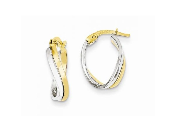 Earrings - Lady's14 Karat Two-Tone Small Hoop Earrings With Half Polished/Half Hammer Finish Pattern