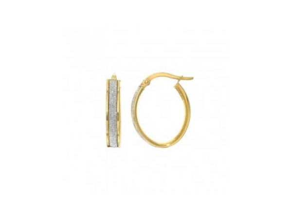 Earrings - Lady's Two Tone 14 Karat Medium Hoop Yellow With White Gold Sparkle Center  Earrings