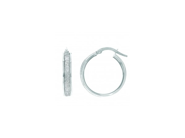 Earrings - Lady's White 14 Karat Small Hoop Earrings With Sparkle Center