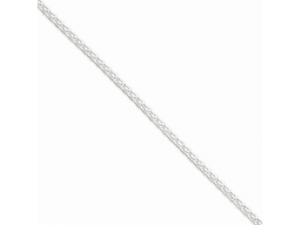 Chain - White Sterling Silver Round Wheat Chain Length 20