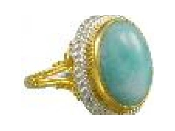 SS/Gold Rings - Michou  Lady's Sterling Silver/22 Karat Ring With One Oval Larimar Stone Size 7