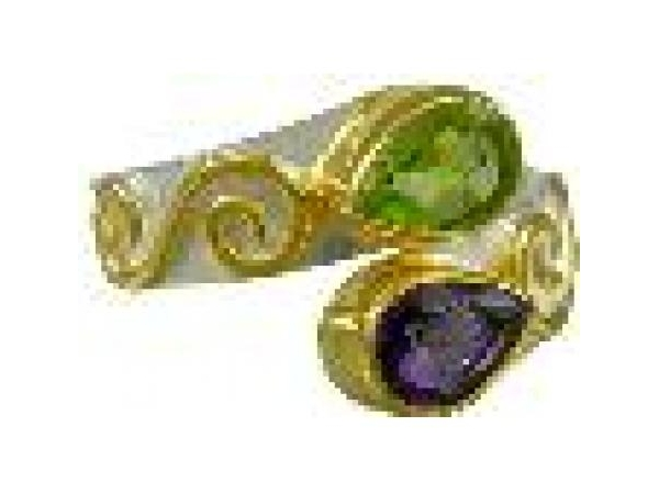 SS/Gold Rings - Sterling Silver with 22kt vermeil By Pass style Ring With One Pear shped Amethyst And One Pear shaped Peridot, Size 7