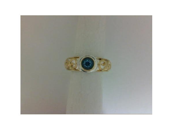 SS/Gold Rings - Michou Sterling Silver/ 22 Karat Yellow Vermail Scroll Ring With One Round  Blue Topaz Stone Size 8