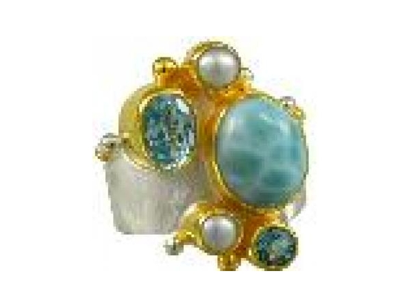 SS/Gold Rings - Michou Sterling Silver/ 22 Karat Yellow Vermeil Ring With Two Pearls, Oval Larimar, one Oval sky Blue Topaz, One Round Baby Blue Topaz Size 7