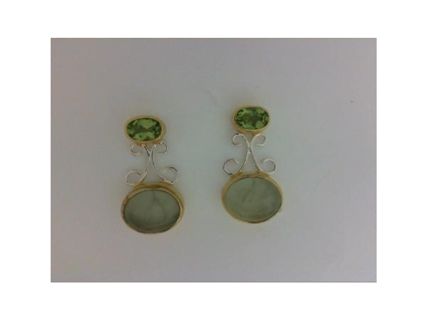SS/Gold Earrings - Michou 133021 Sterling Silver/22Karat Vermeil Earrings With 2 Oval Prehenite and 2 Oval Peridots