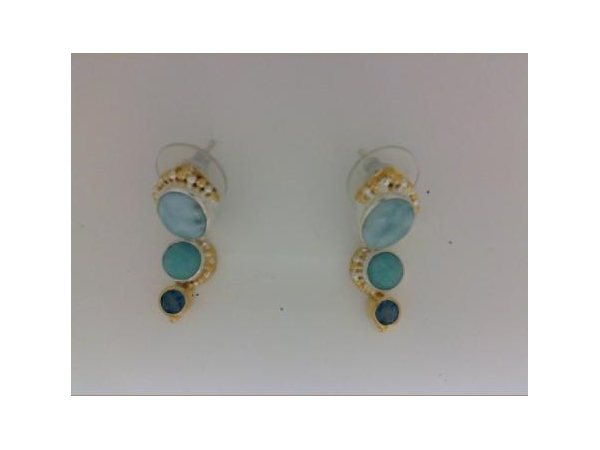 SS/Gold Earrings - Michou 142011 Lady's Sterlling Silver/22 Karat Vermeil Dangle Earrings With 2 Oval Amazonite, 2 Round Teal Topaz, and 2 Round Larimar Stones.
