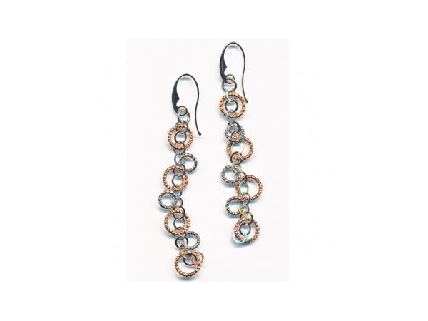 SS/Gold Earrings - Frederic Duclos E217  Lady's Sterling Silver /18 Karat Rose Gold Plated Multi-Circle Dangle Earrings